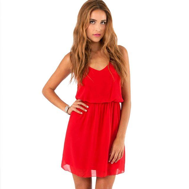 Women's Sleeveless Cami Mini Chiffon Dresses