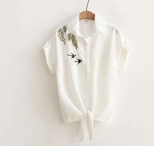Women's Casual Blouse With Floral Embroidery