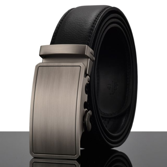 Elegant Monocolor Black Belt With Automatical Buckle