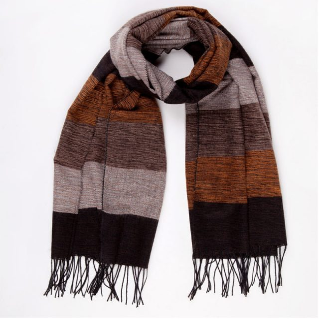 Classic Striped Winter Scarf for Men