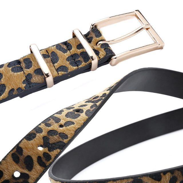 Women's Leopard Pattern Metal Buckle Belts