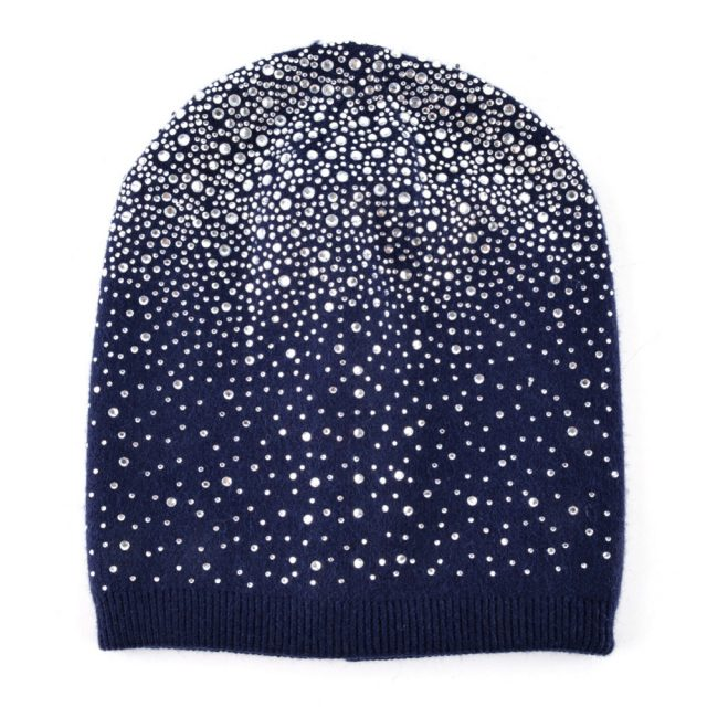 Women's Acrylic Winter Hat with Rhinestone