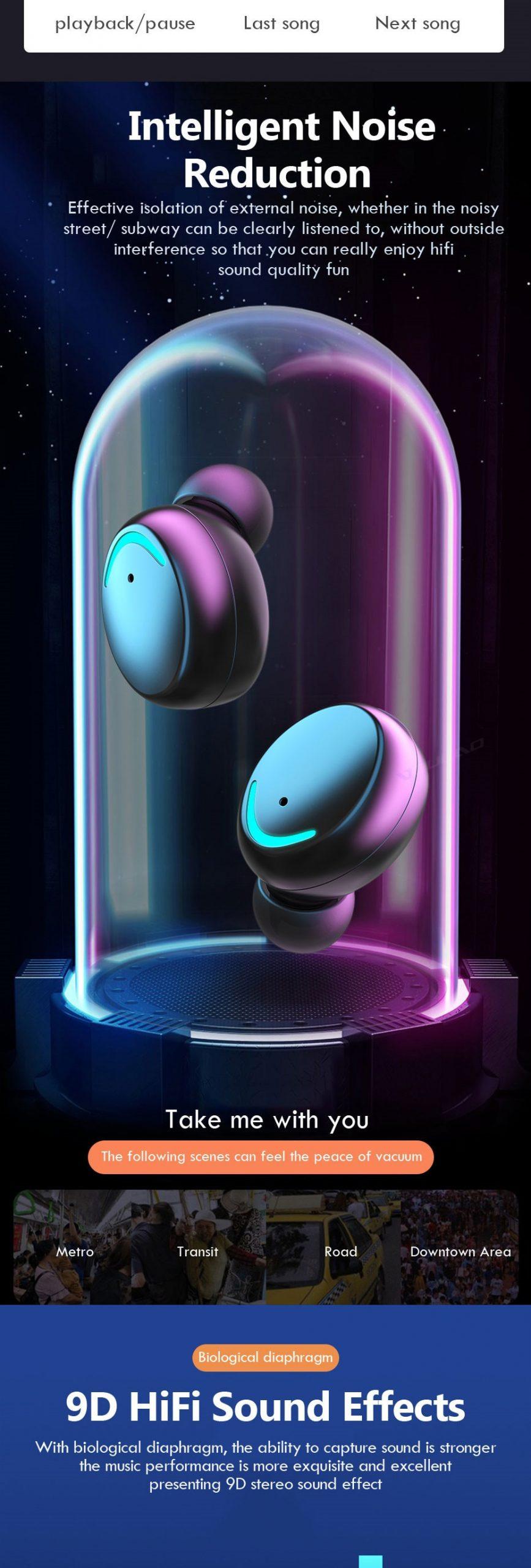 Trendy Waterproof Wireless Bluetooth Earphones